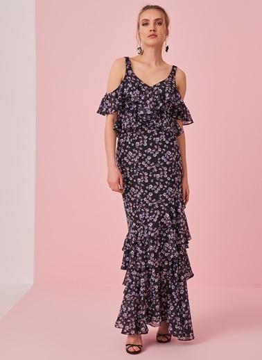morhipo x dcey Volan Detaylı Çiçek Desenli Elbise Siyah